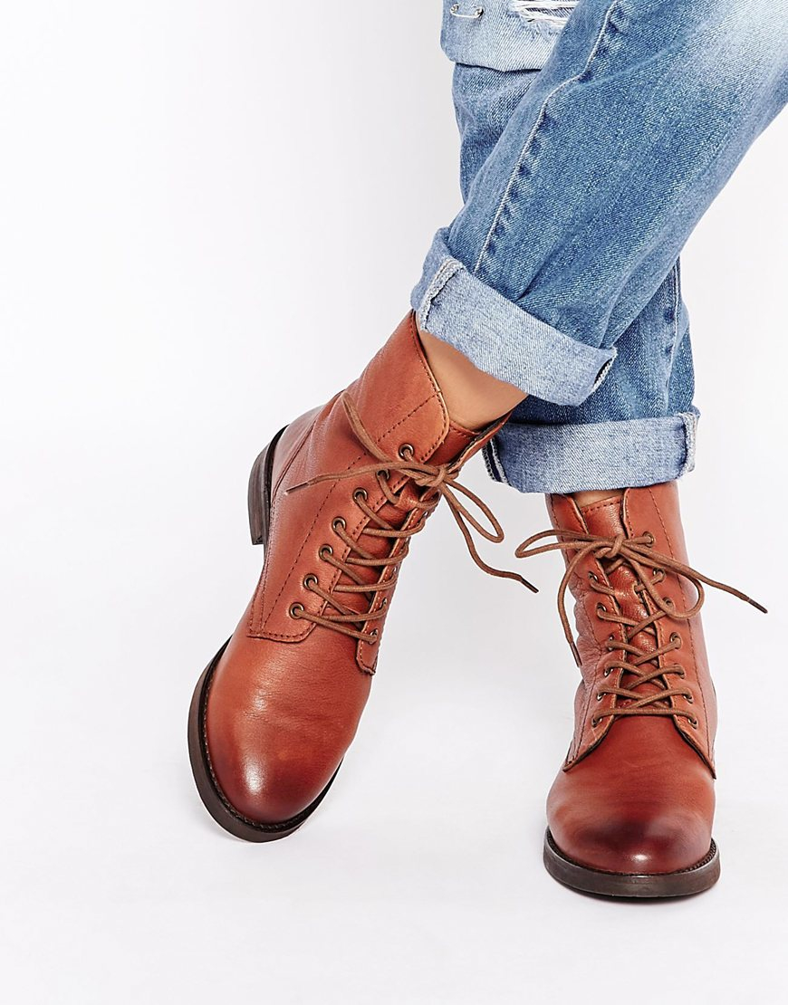 Asos Aerodrome Leather Lace Up Ankle Boots in Brown | Lyst