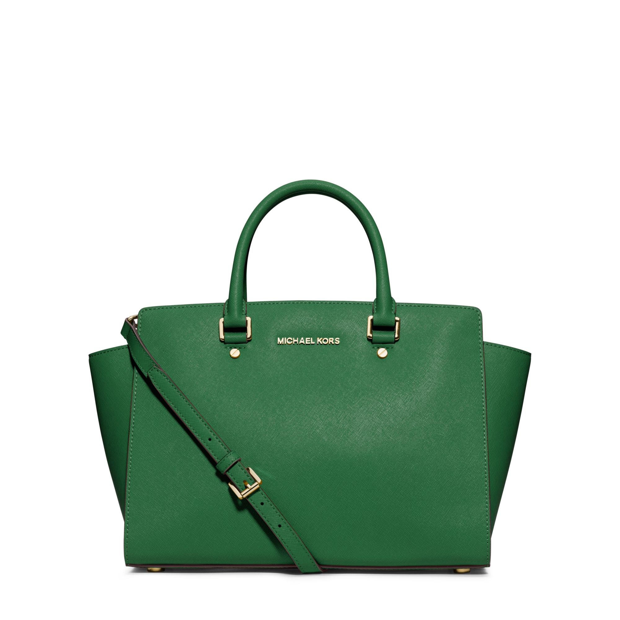 Michael Kors Laukkukoru : Michael kors selma large saffiano leather satchel in green