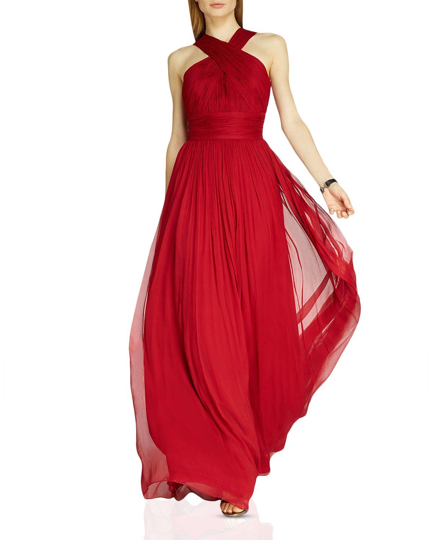 Lyst - Halston Crisscross Neck Chiffon Gown in Red