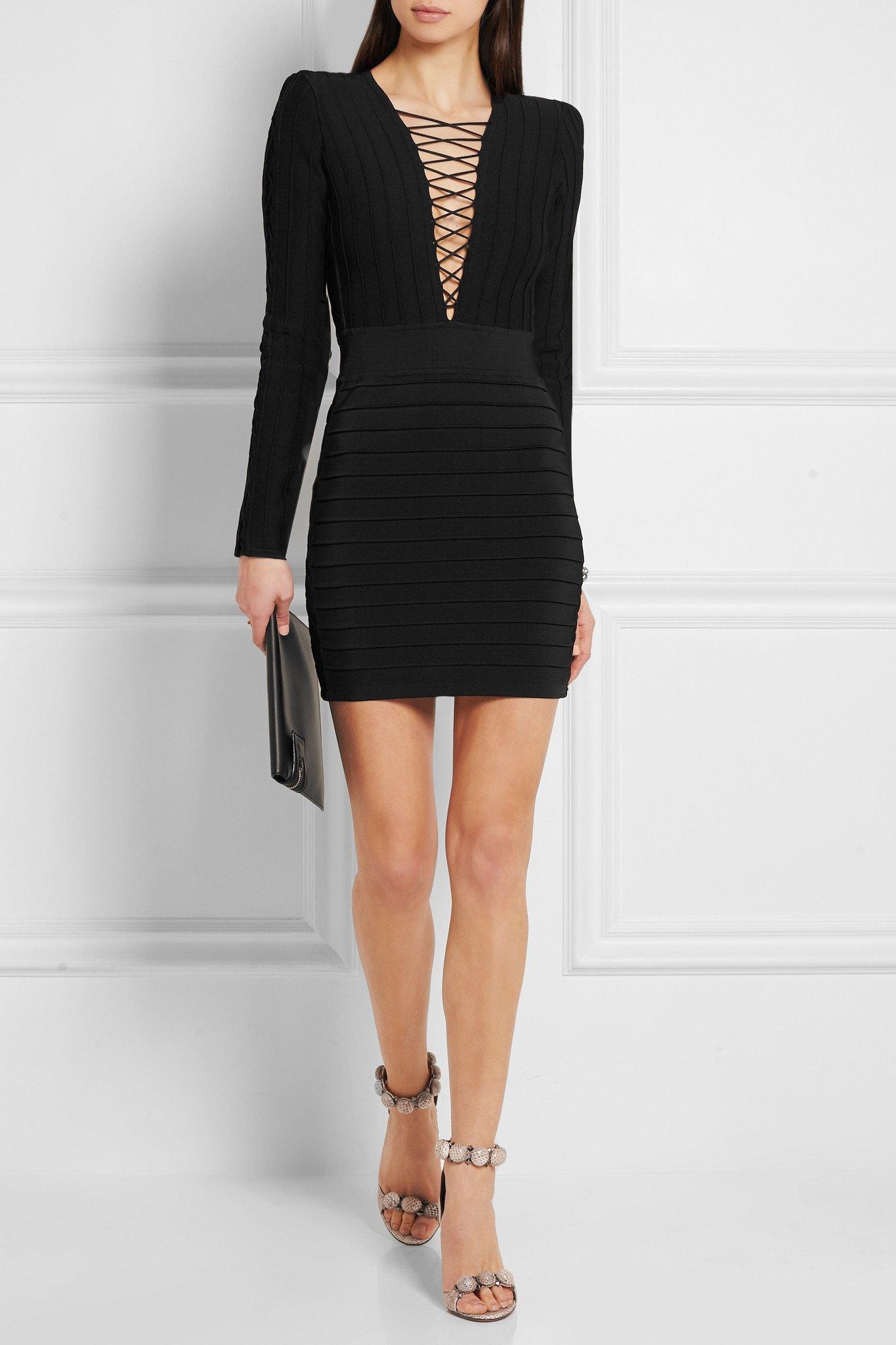79b9266cfda5 Lyst - Balmain Lace-up Ribbed Stretch-knit Mini Dress in Black
