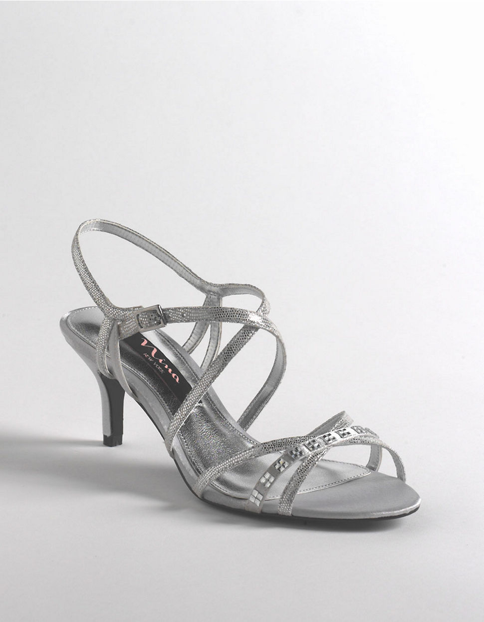 Nina Curran Strappy Leather Sandals In Silver Silver