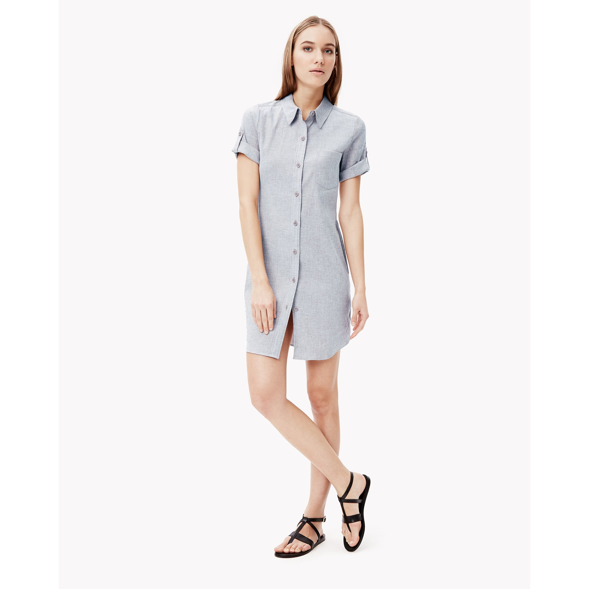 Lyst Theory Linen Chambray Utility Dress In Blue
