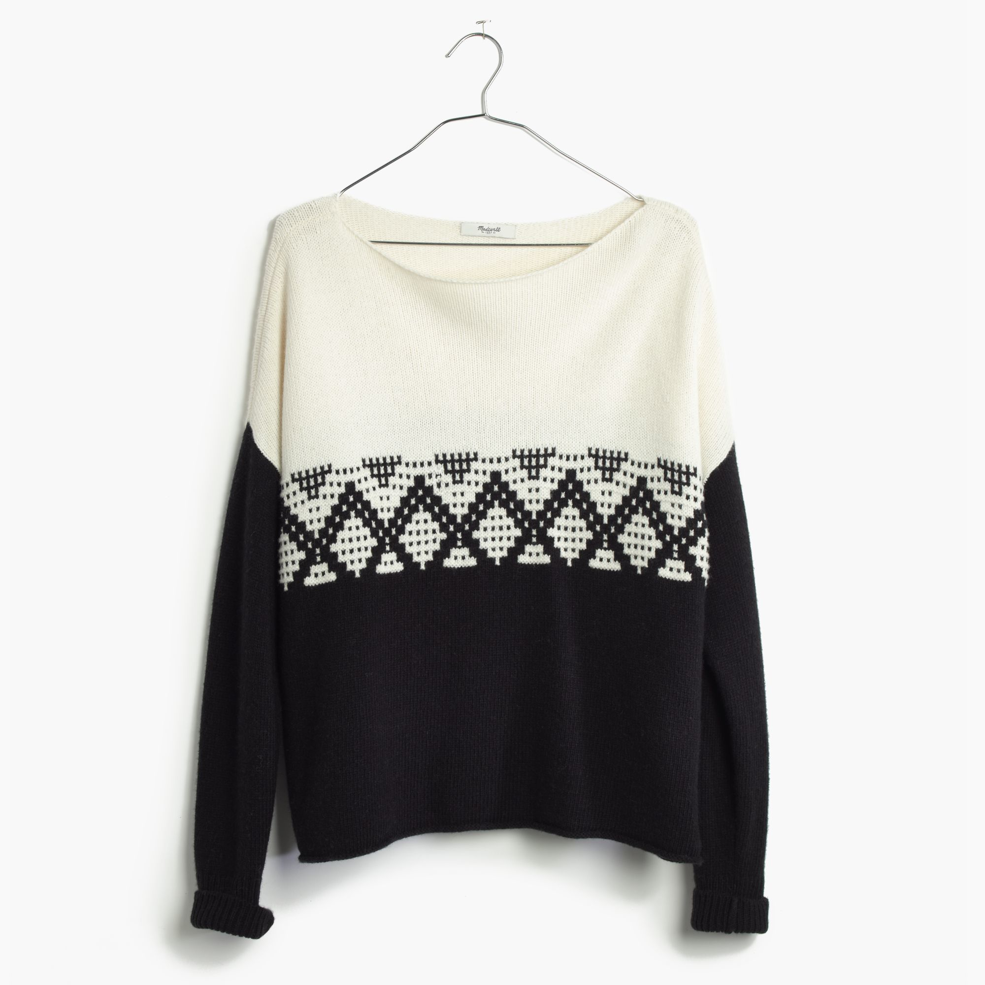 madewell contrast fair isle pullover sweater in black lyst. Black Bedroom Furniture Sets. Home Design Ideas