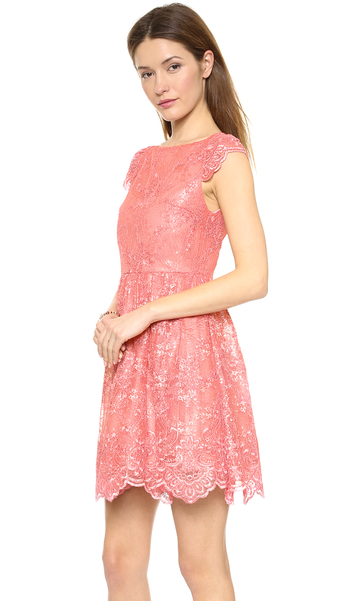 Alice Olivia Zenden Lace Dress Pink Icing In Pink Lyst