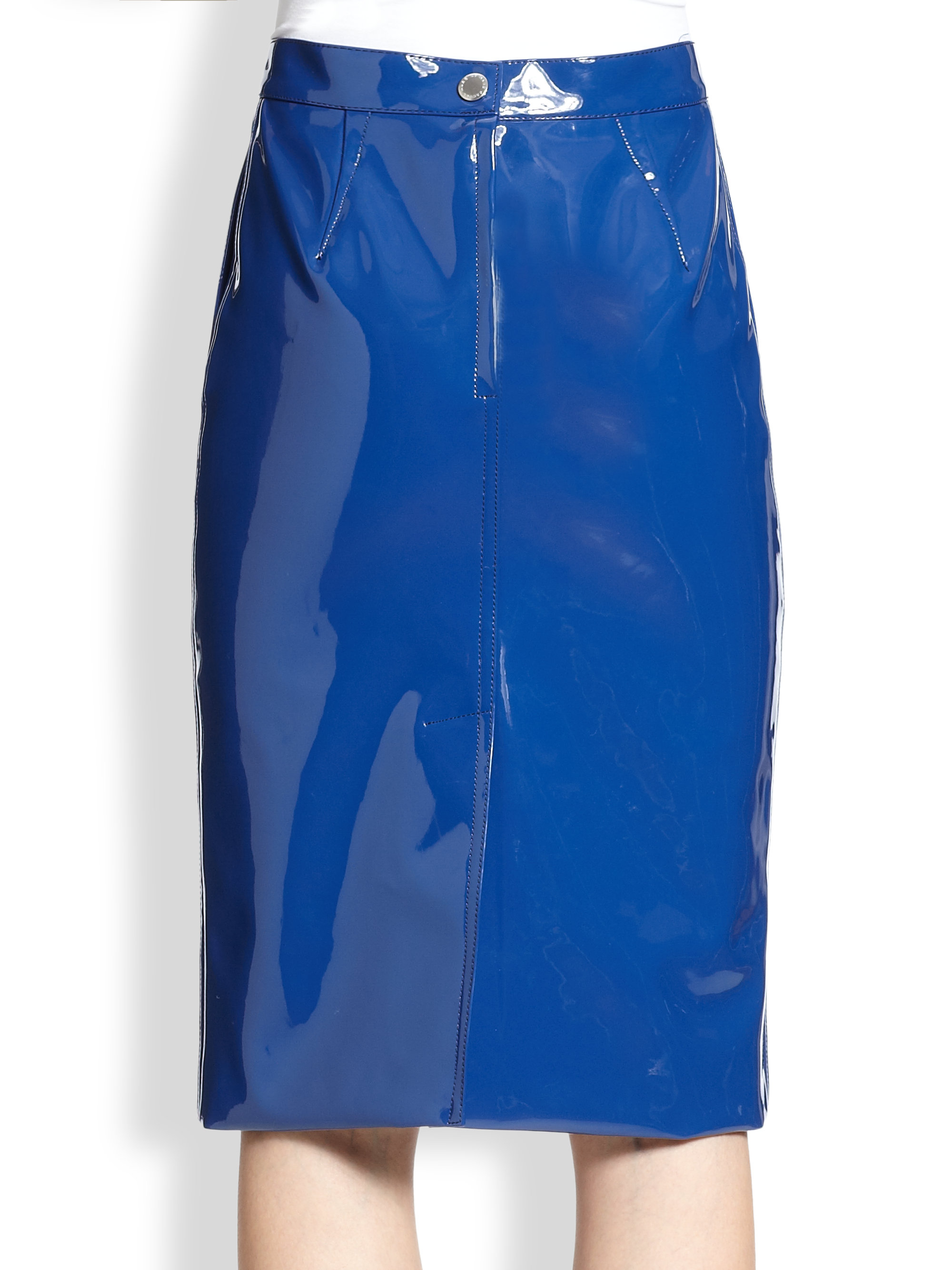 Marc by marc jacobs Emi Faux Patent Leather Pencil Skirt in Blue ...