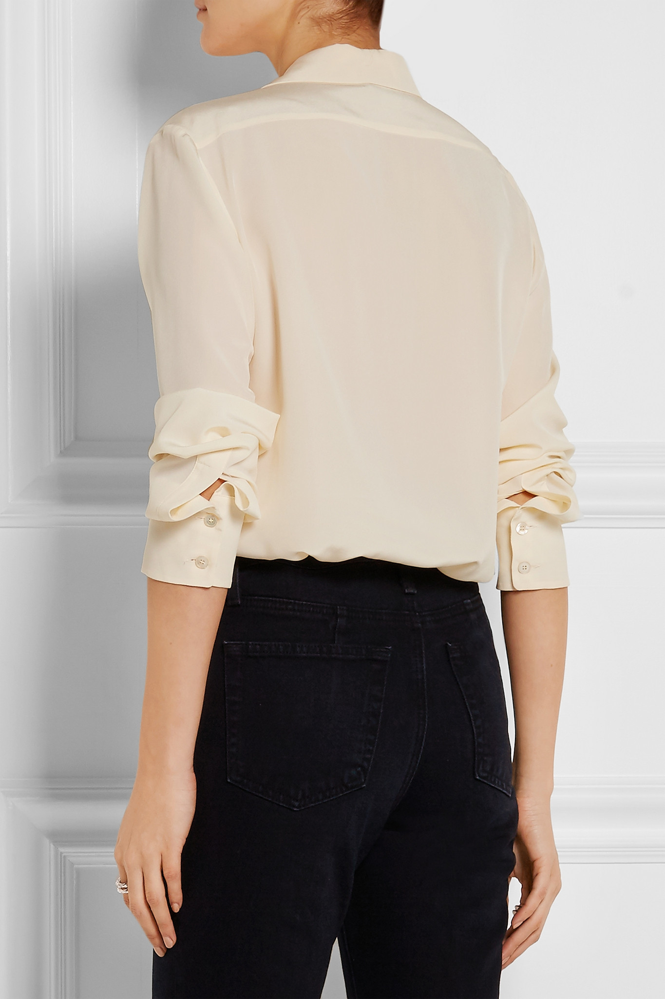 f691cdac086862 Stella McCartney - Embroidered Silk Crepe De Chine Shirt - Ecru in ...