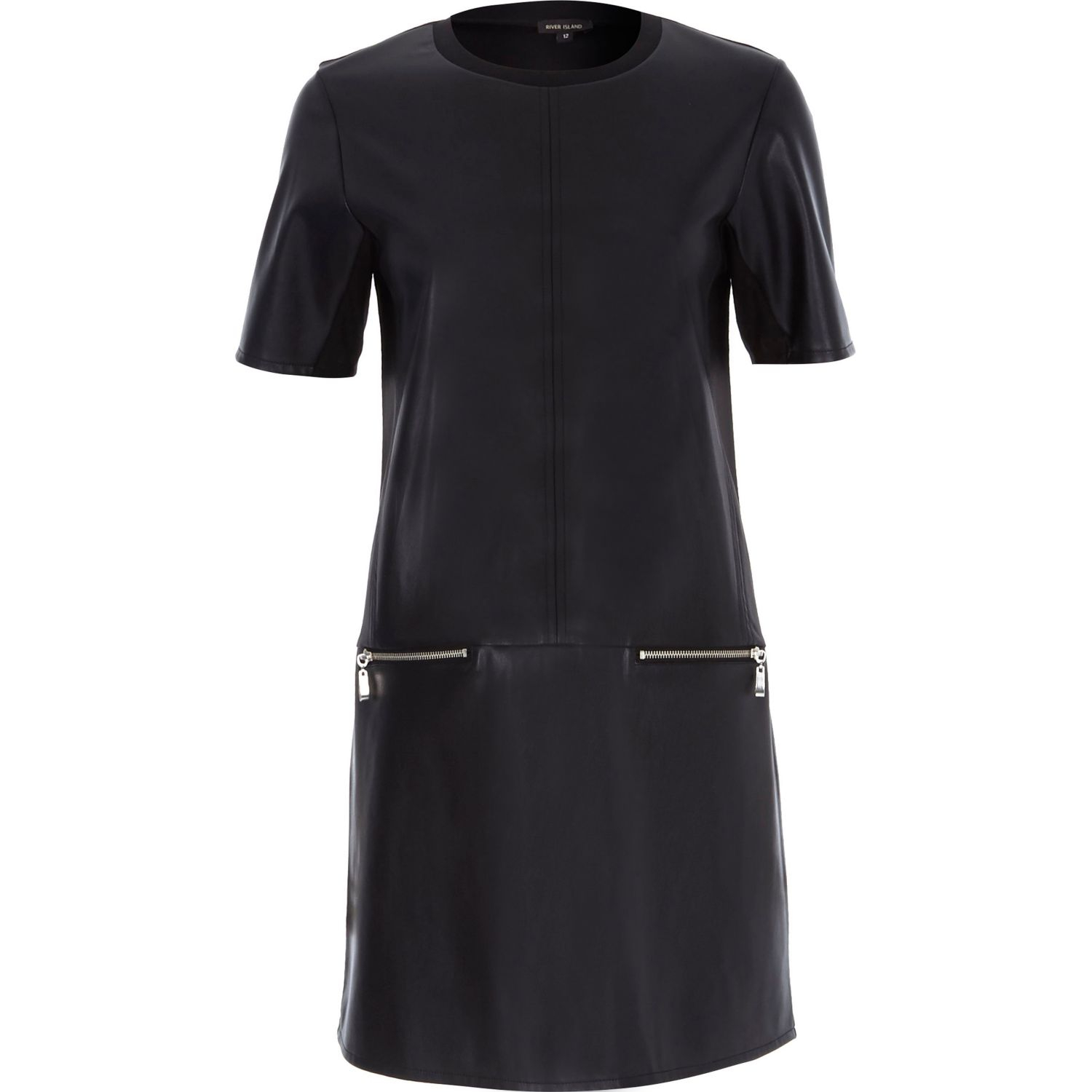 Black t-shirt dress, leather sleeve detail. New RALPH LAUREN BLUE LABEL SOUTHBURY WOMEN'S BROWN LEATHER SHIRT DRESS SIZE 2 See more like this. The Kooples Baby Leopard & Black Leather Trim Shirt Waist Dress Size XL. Brand New · The Kooples · .