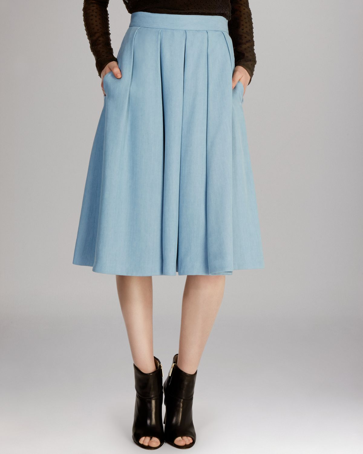 Karen millen Midi Skirt in Blue | Lyst