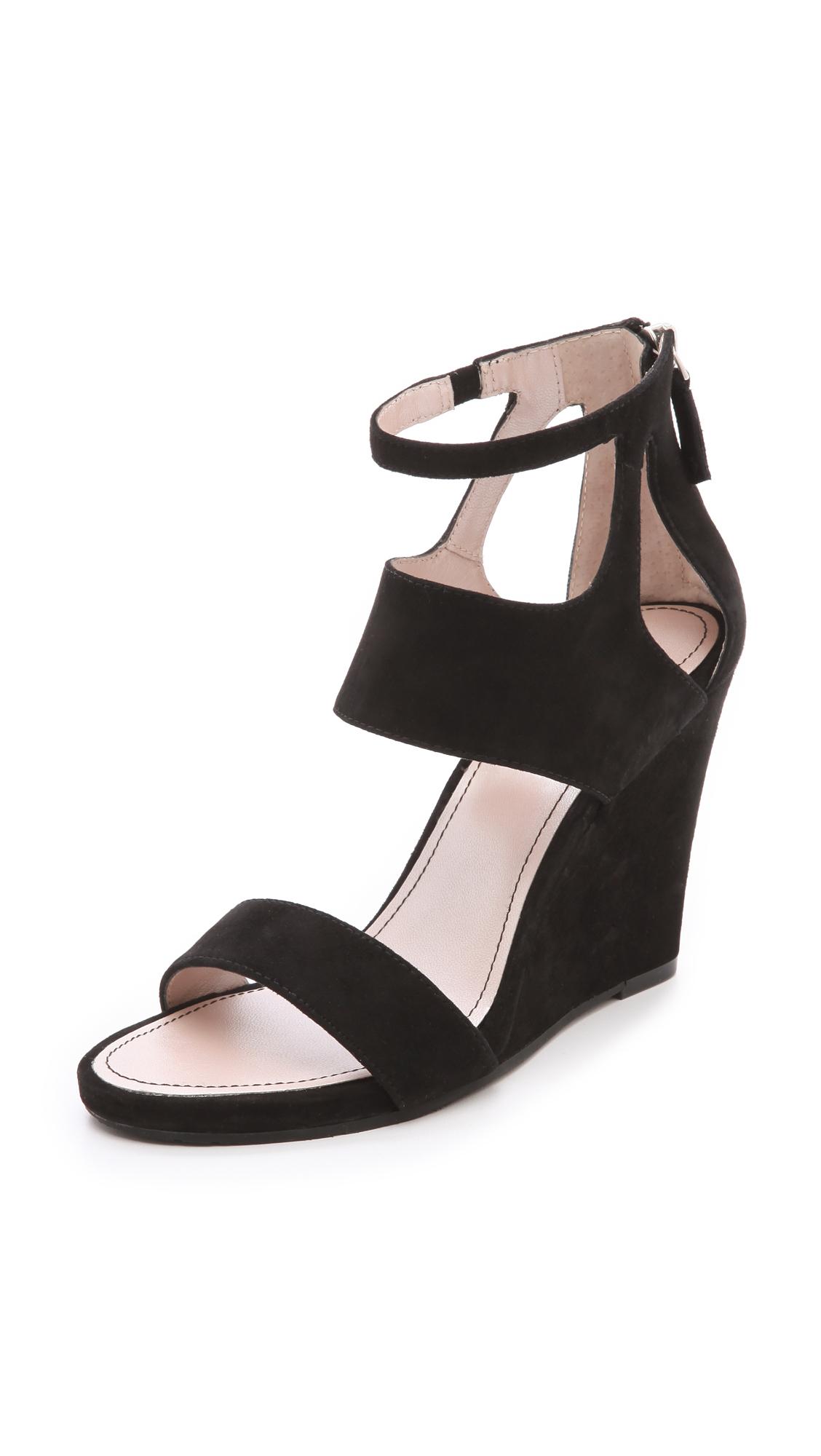 Lyst Dkny Hara Wedge Sandals In Black