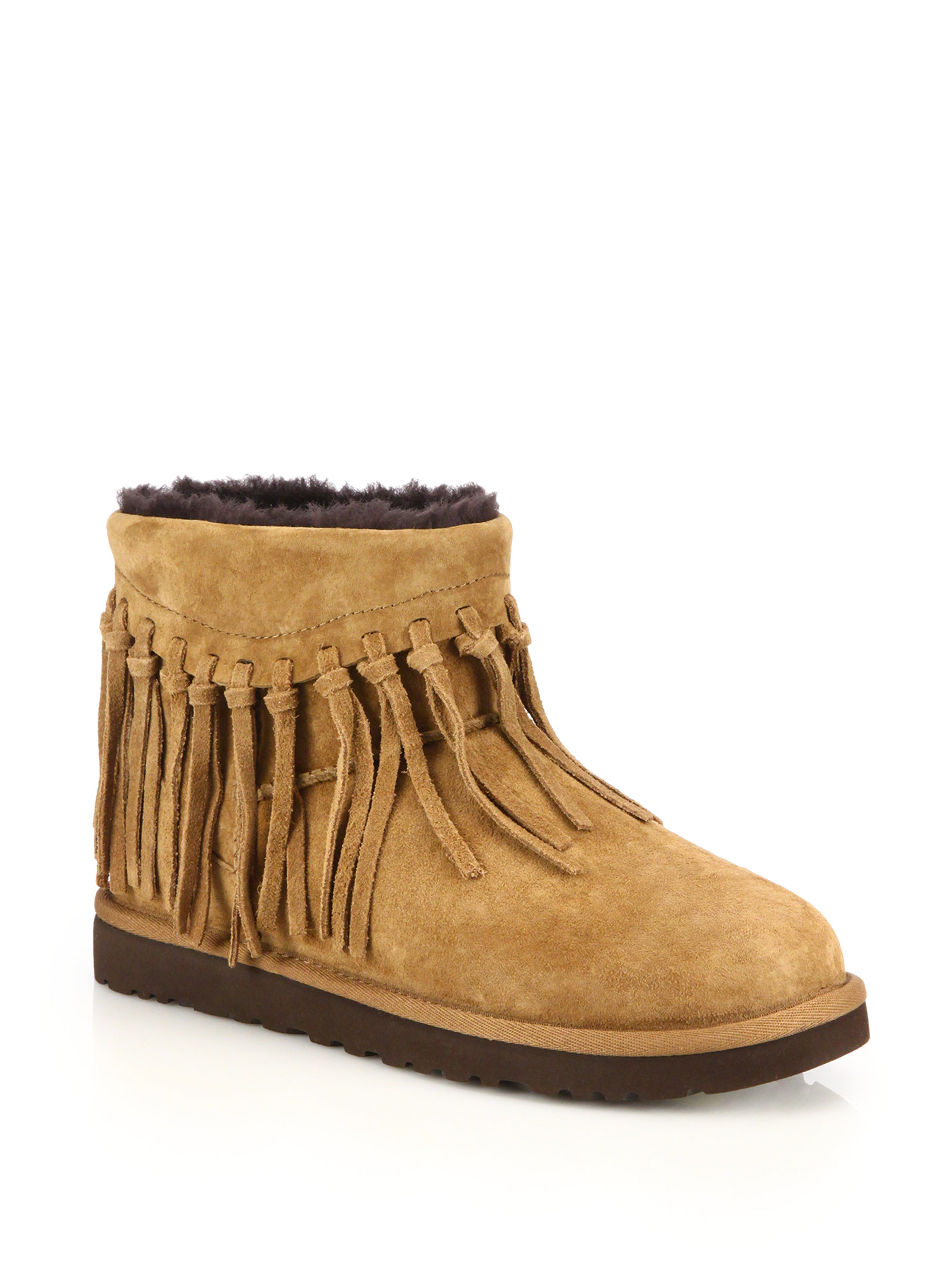 ugg wynona fringed suede boots in brown lyst