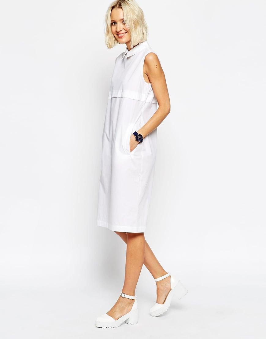 a18493804a0d5 Lyst - ASOS Sleeveless Shirt Dress In Sheer Poplin in White
