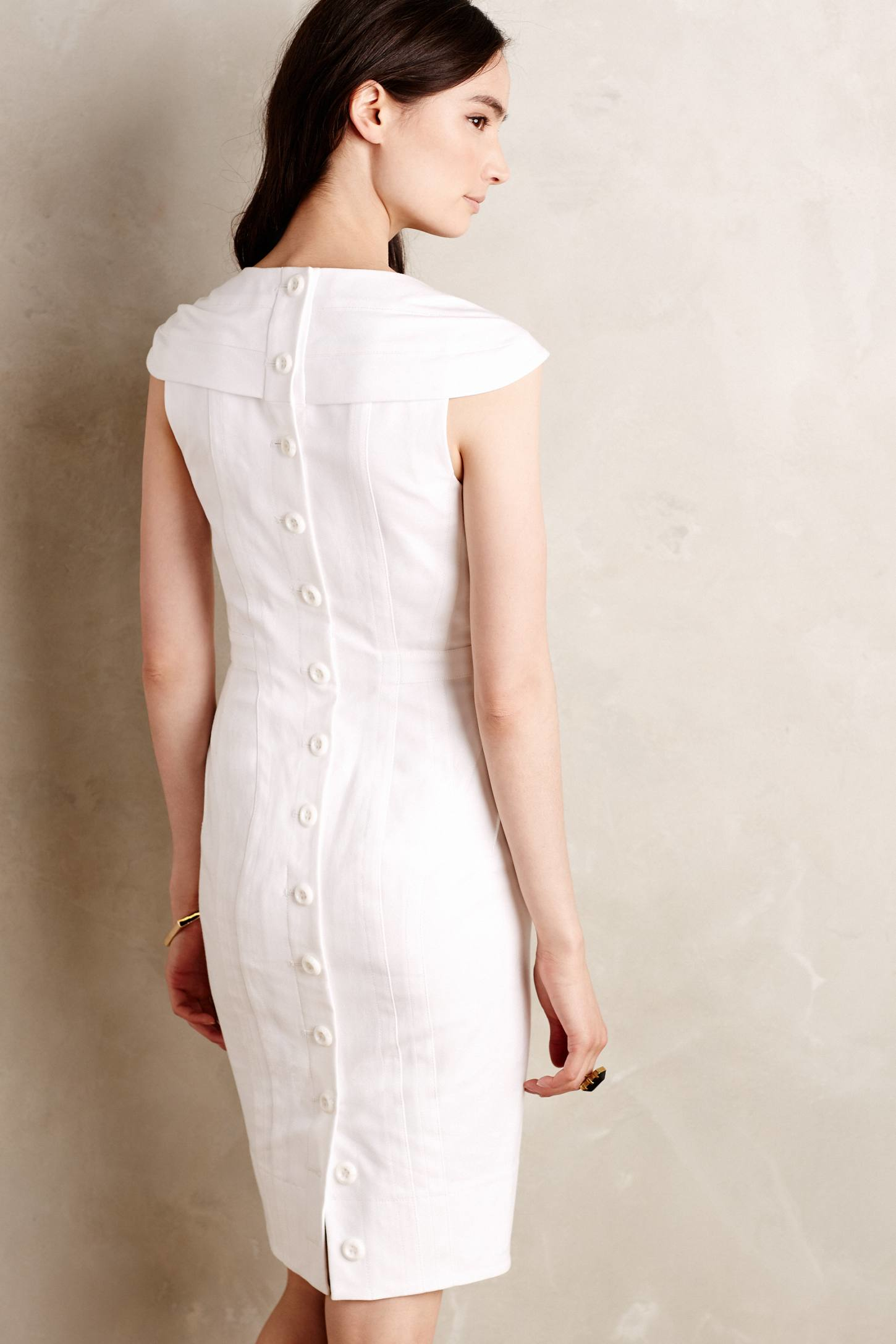 Byron lars beauty mark button back pencil dress in white for How to get makeup out of white shirt