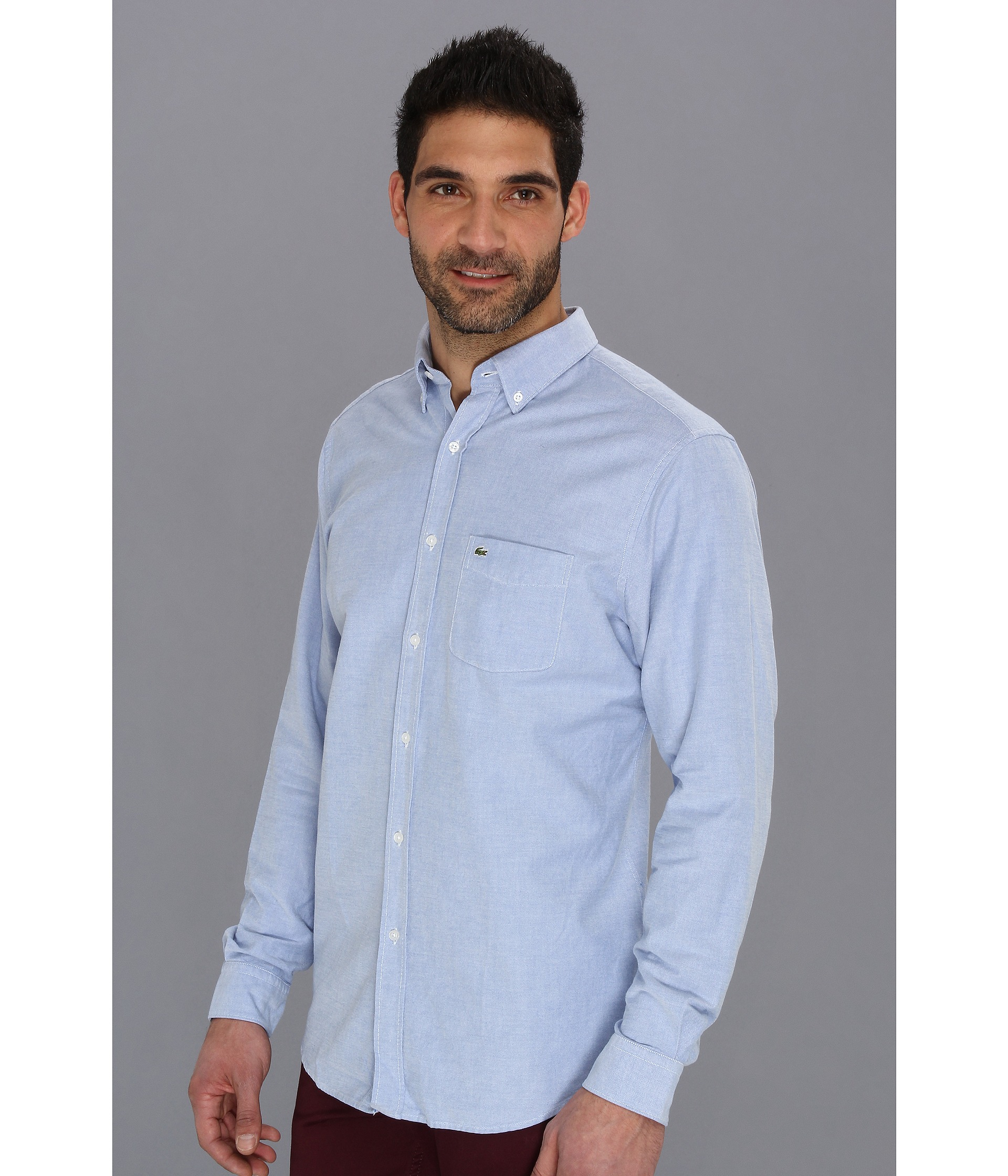 Lyst lacoste long sleeve button down oxford woven shirt for Oxford long sleeve button down shirt