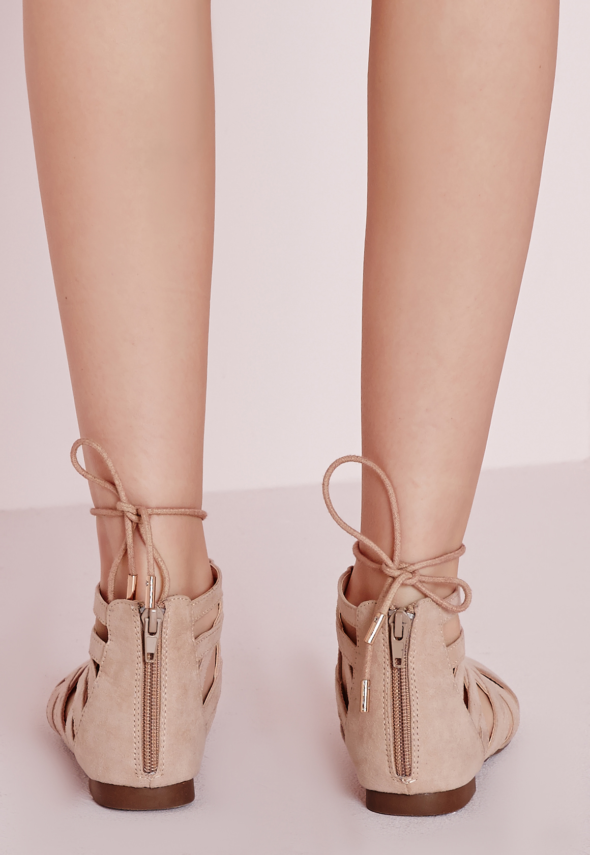 Missguided Natural Strappy Lace Up Flat Shoes Nude