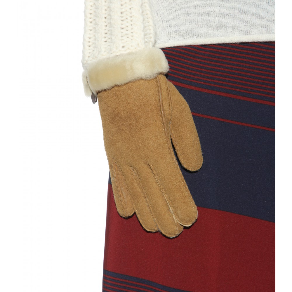 df671e581 UGG Tenney Shearling And Suede Gloves in Natural - Lyst