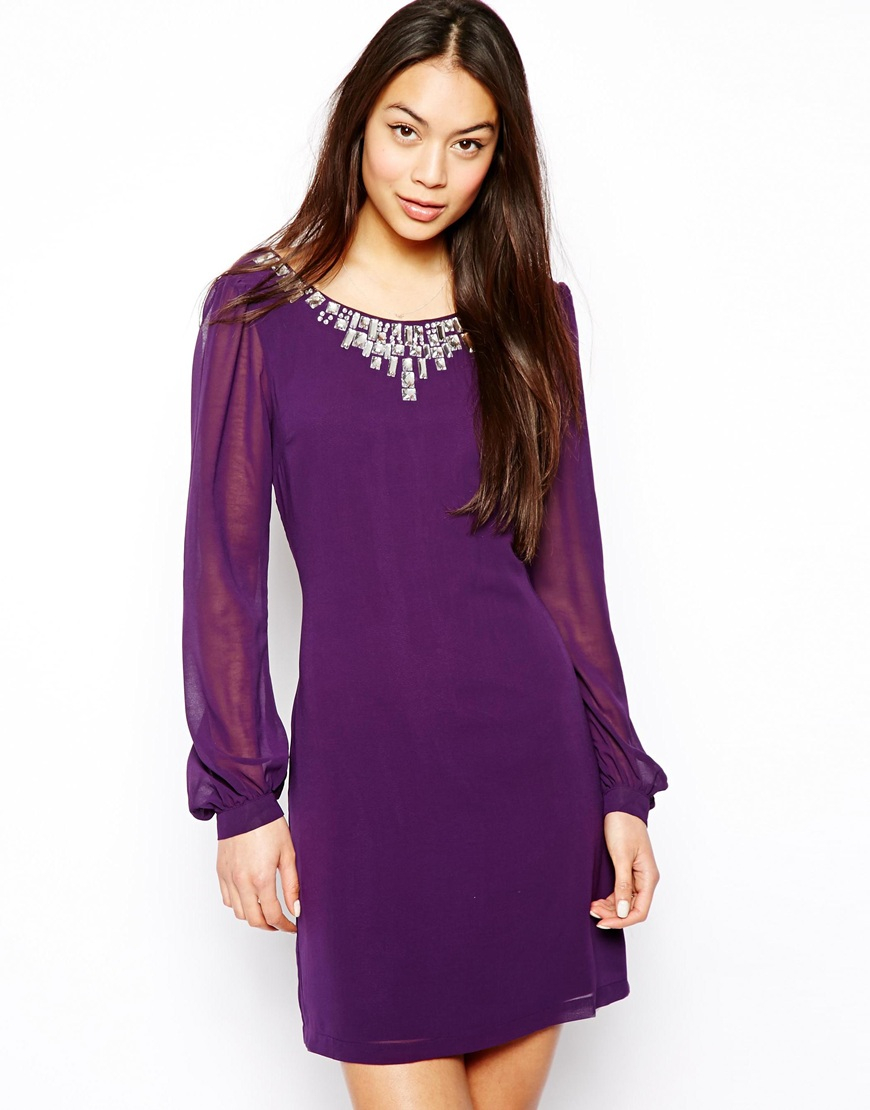 Lyst - Lipsy Sequin Embellished Shift Dress in Purple