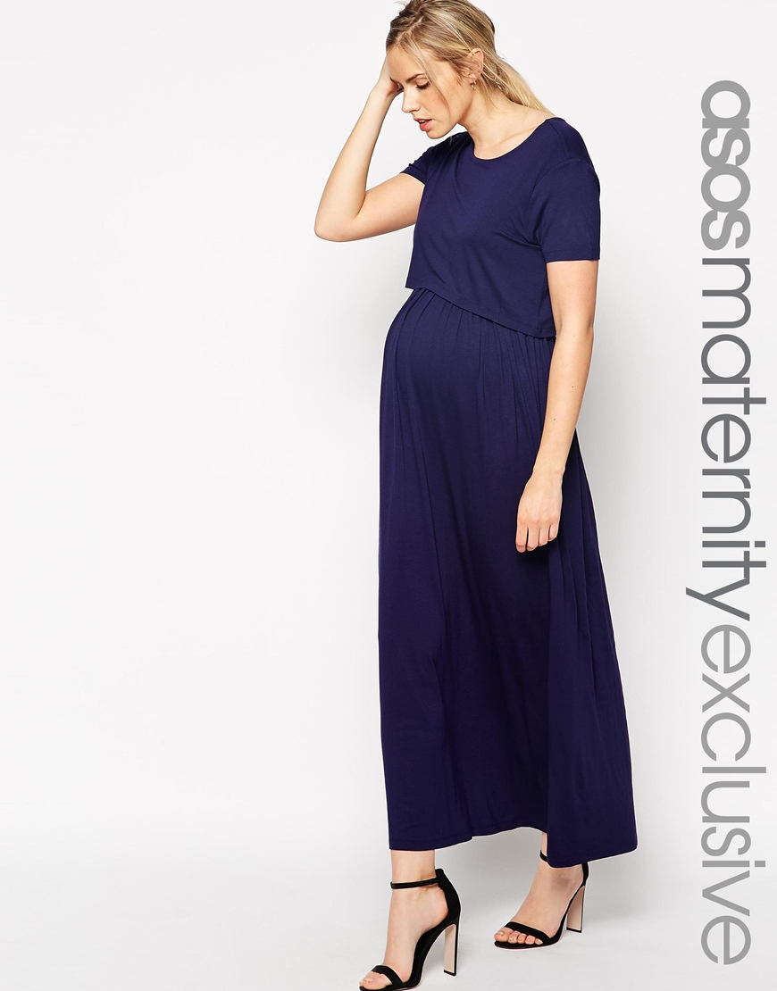 6cbb68999af9c ASOS Nursing Maxi Dress With Double Layer in Blue - Lyst