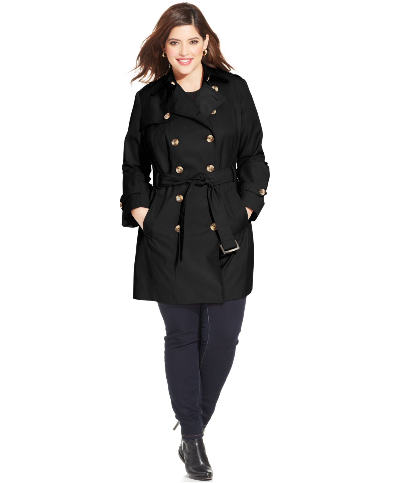 Plus Size Faux Suede Trench Coat