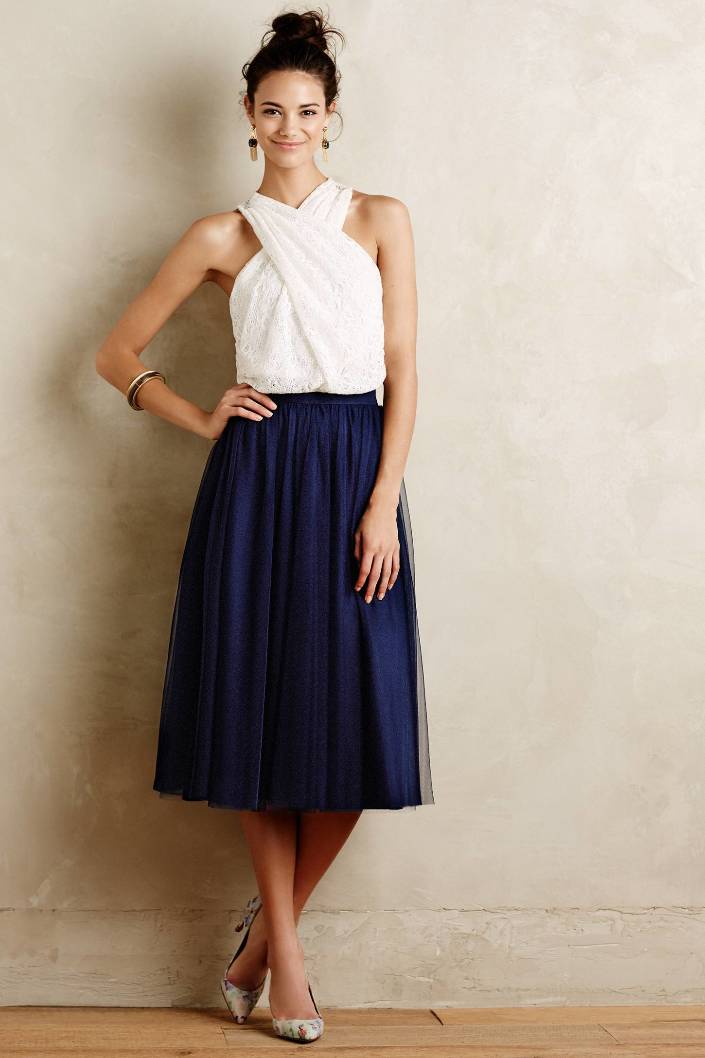 Bailey 44 Tulle Midi Skirt in Blue | Lyst