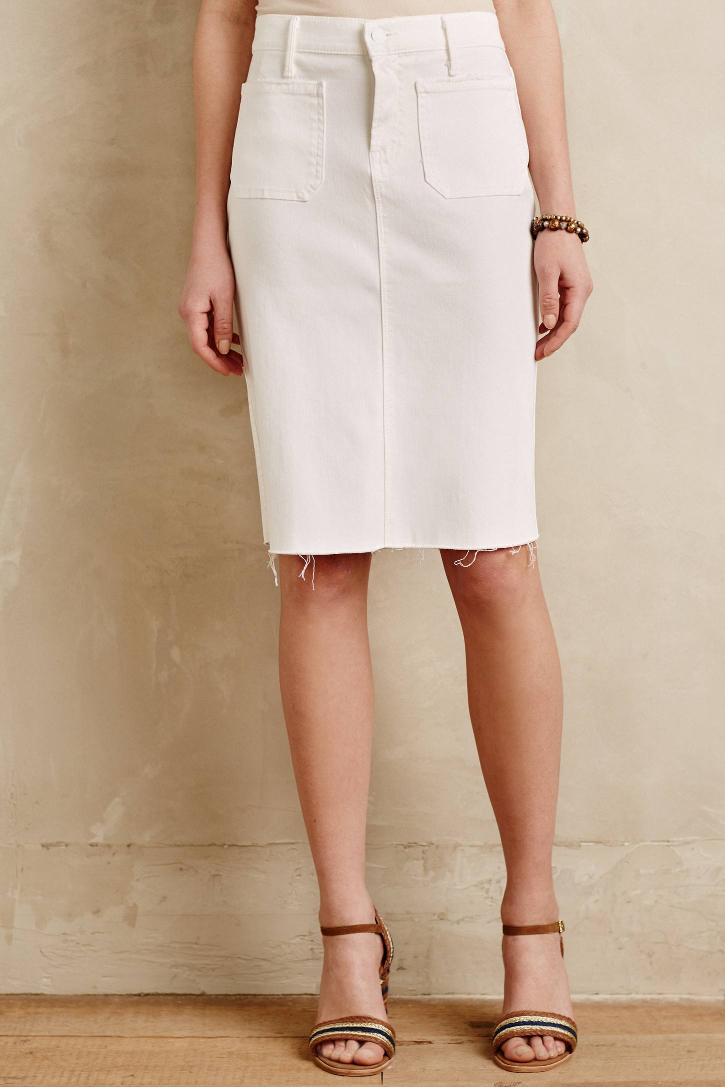 Mother Denim Pencil Skirt in White | Lyst