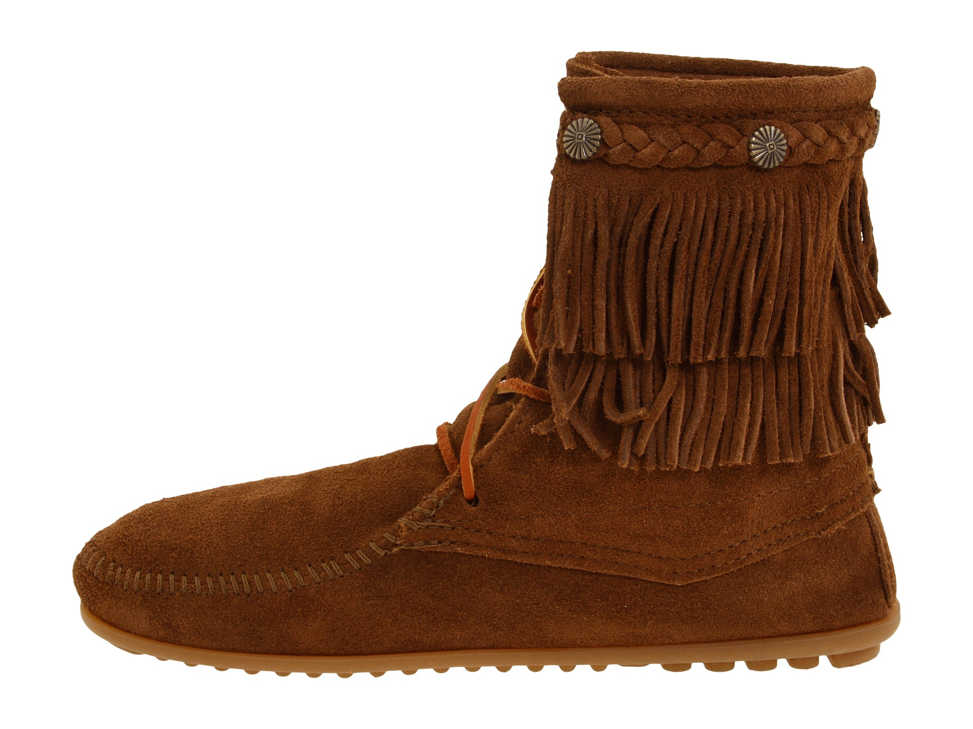 minnetonka fringe front lace boot in brown dusty