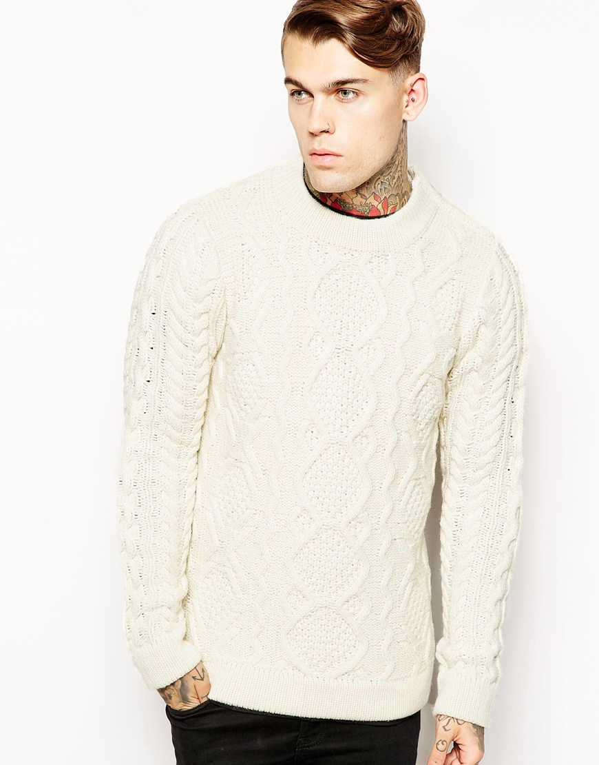 Eleven paris Arran Knit Jumper in White for Men | Lyst