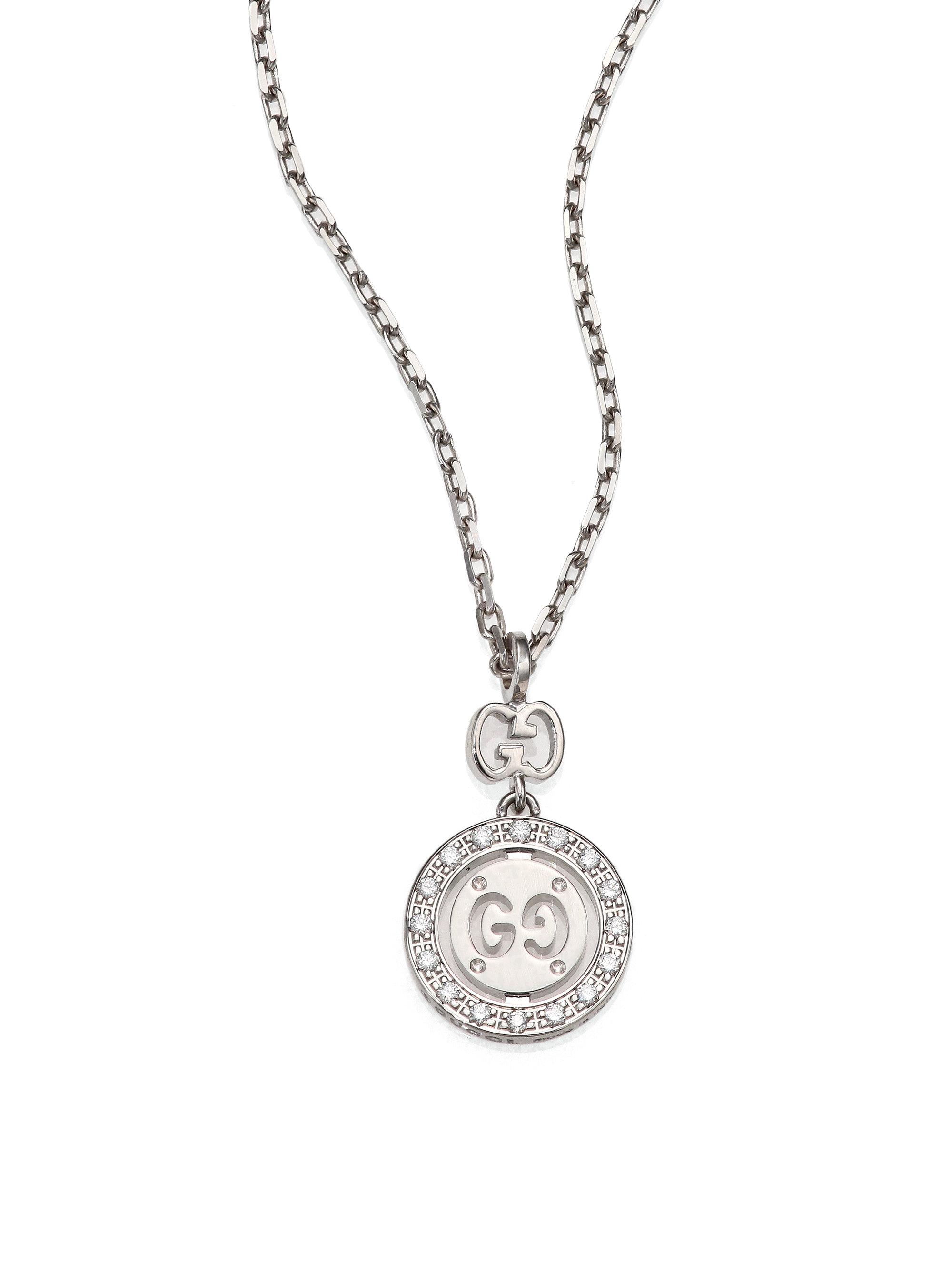 Lyst gucci icon twirl diamond 18k white gold pendant necklace in gallery aloadofball Gallery