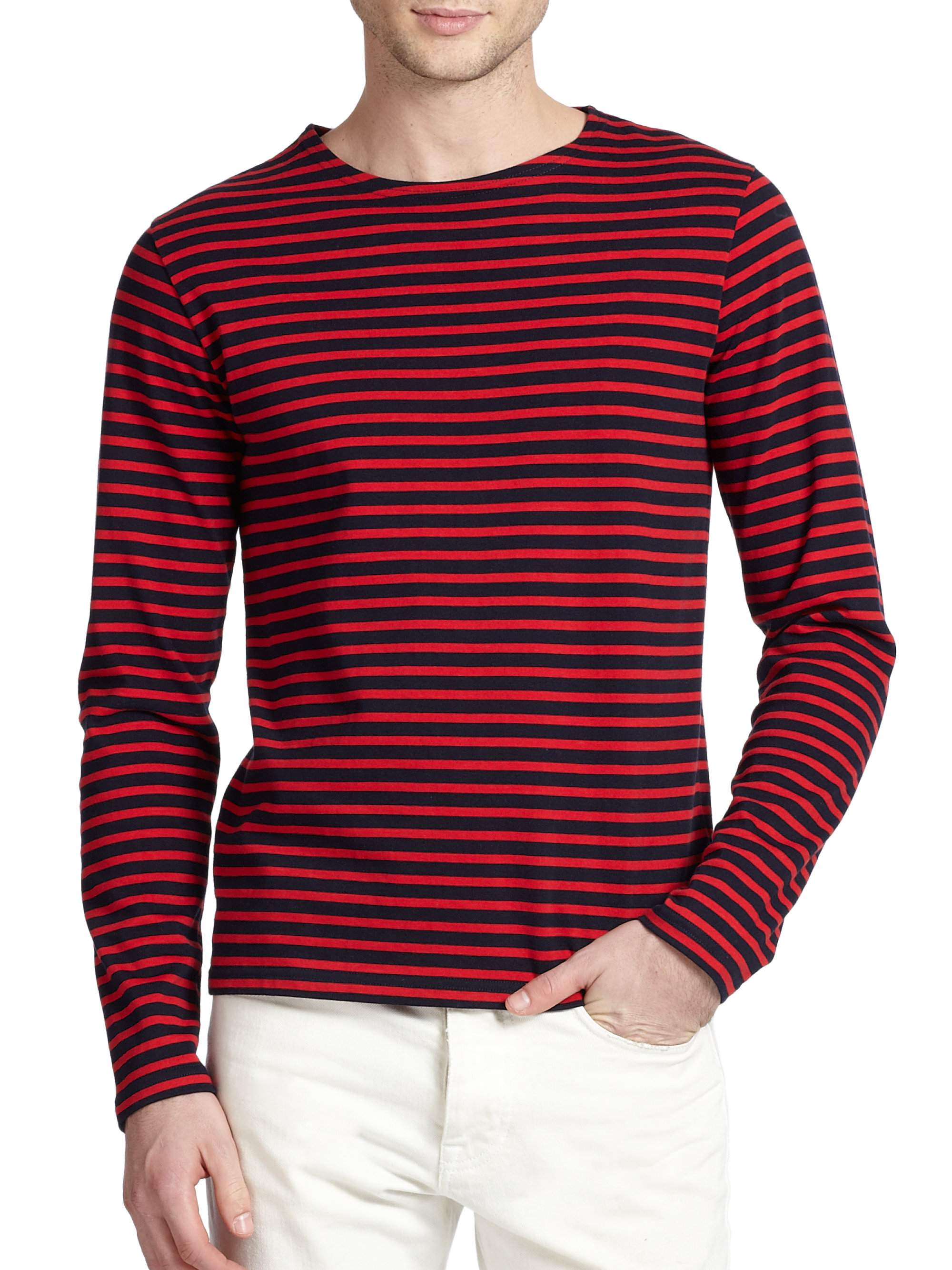 Lyst ami striped cotton t shirt in purple for men for Red and blue t shirt