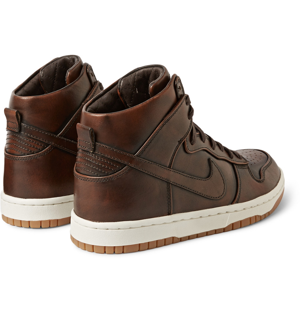 nike lab dunk high sp burnished leather sneakers in brown. Black Bedroom Furniture Sets. Home Design Ideas