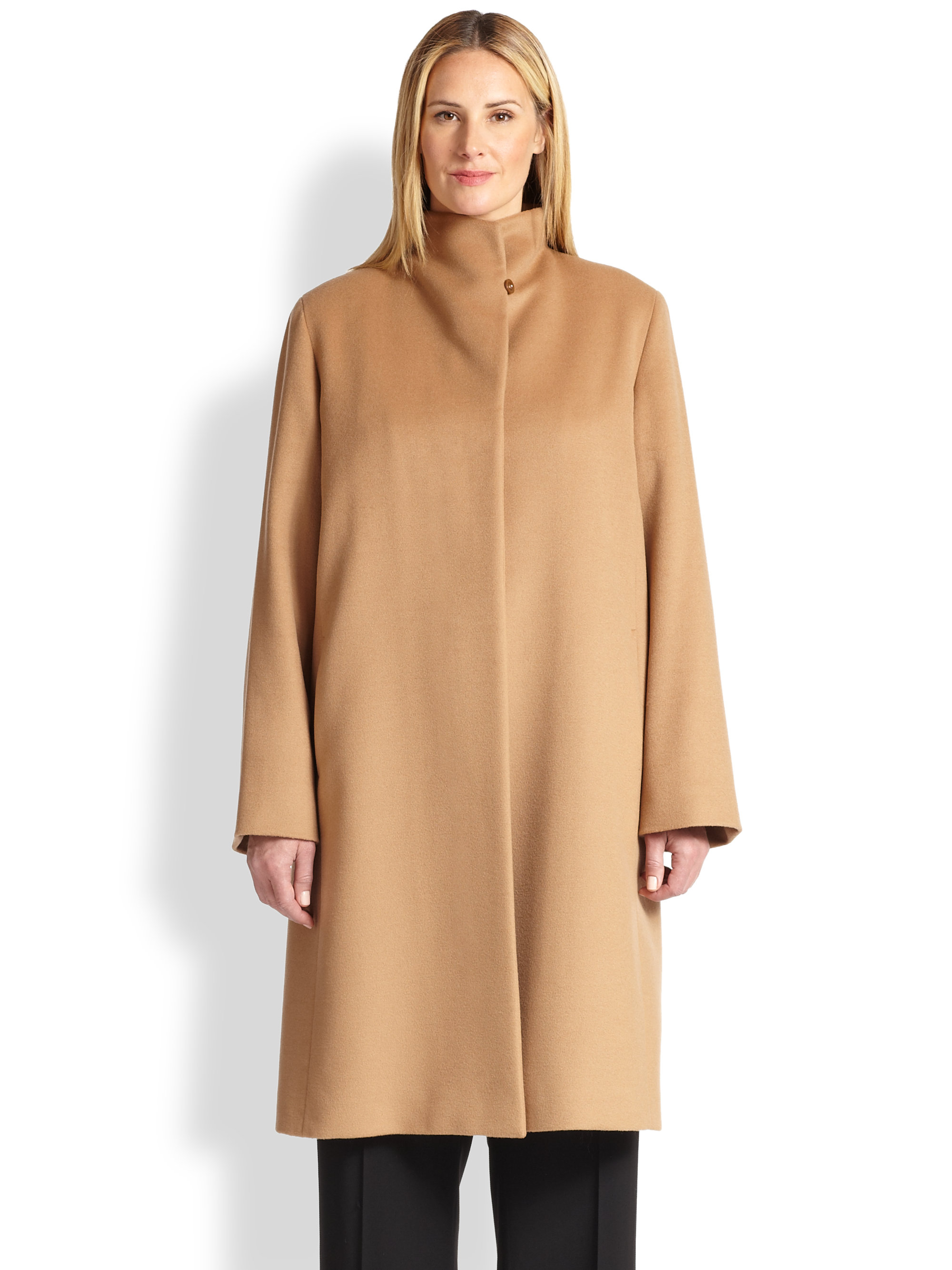 Cinzia rocca Wool Walking Coat in Natural | Lyst