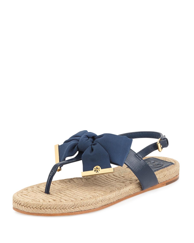 5aa147104302 Lyst - Tory Burch Penny Flat Bow Espadrille Thong Sandals Newport ...