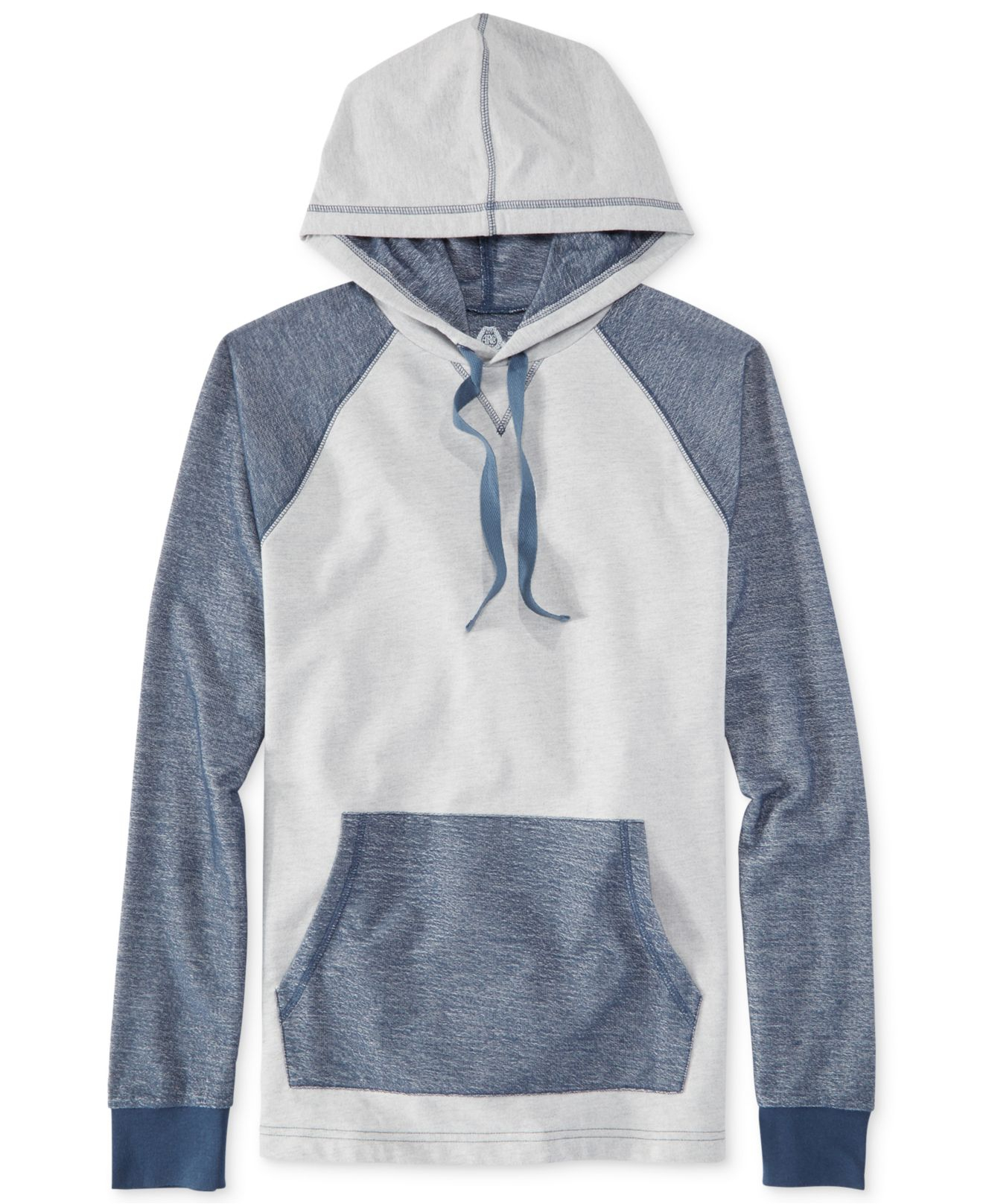 american rag blocked out pullover hoodie in gray for