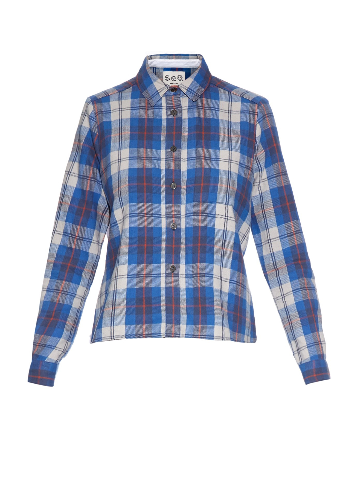 Lyst Sea Contrast Back Plaid Flannel Shirt In Blue