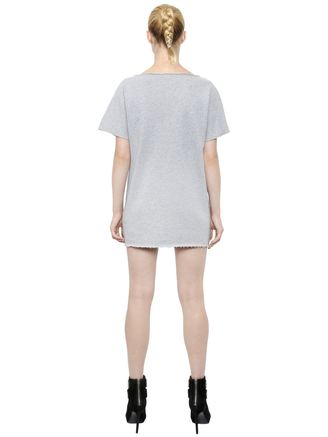 Balmain Embroidered Heavy Cotton Jersey Dress In Gray Lyst