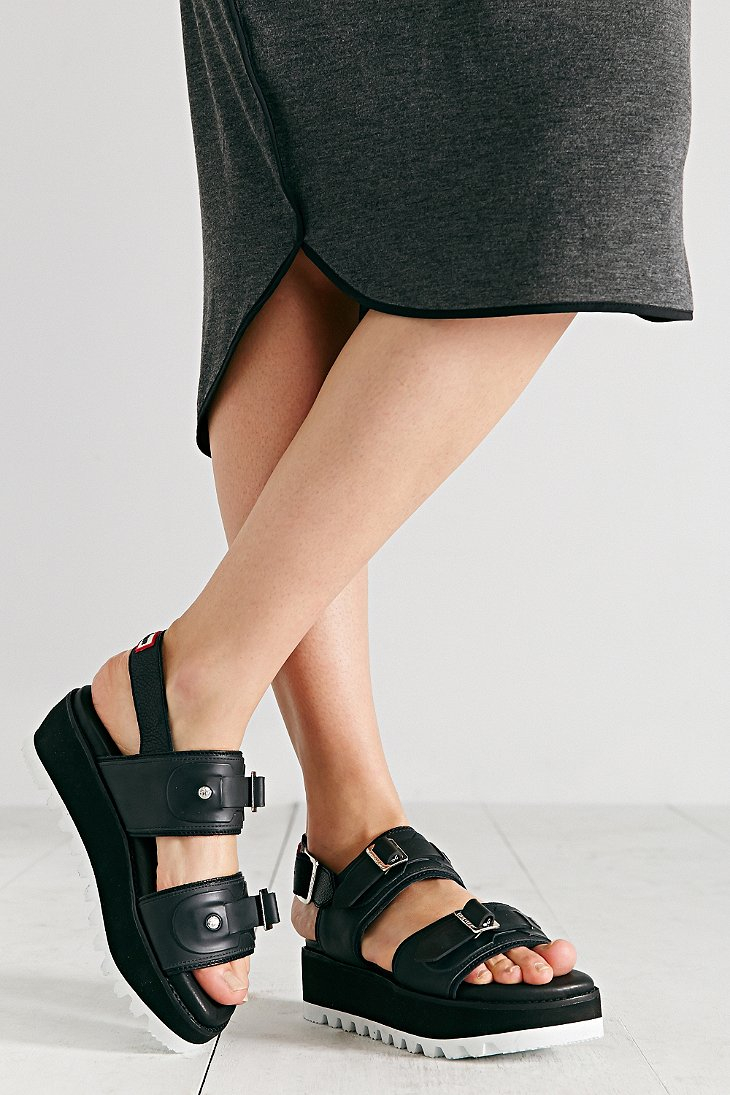 Lyst Hunter Original Double Buckle Platform Sandal In Black