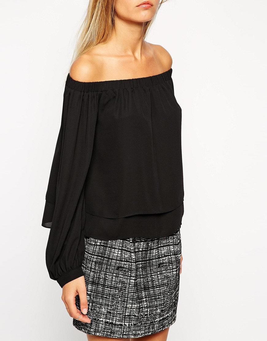 Lyst Asos Long Sleeve Off The Shoulder Top In Black