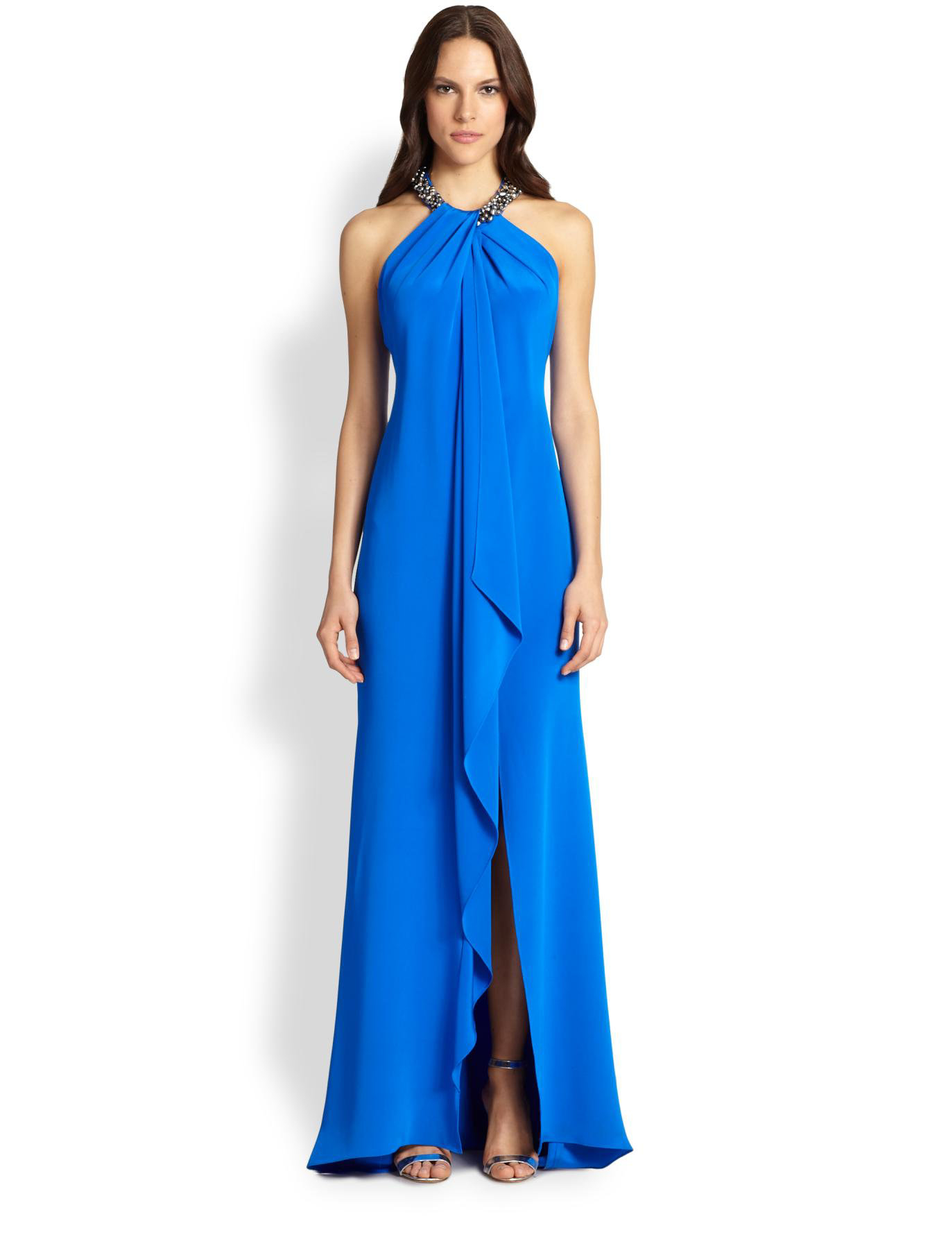 Lyst - Carmen Marc Valvo Toga Necklace Gown in Blue