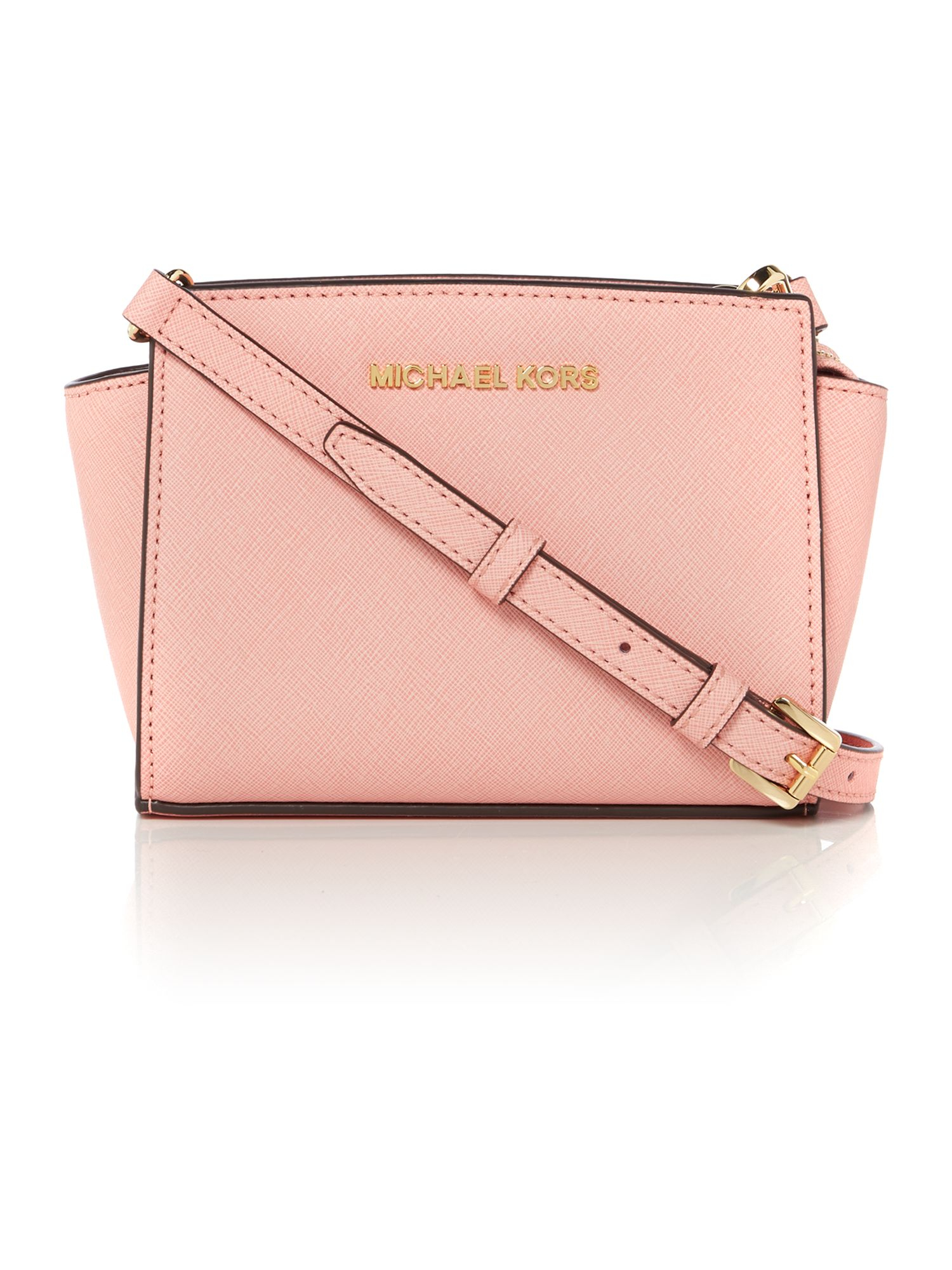 michael kors selma pink small cross body bag in pink lyst. Black Bedroom Furniture Sets. Home Design Ideas