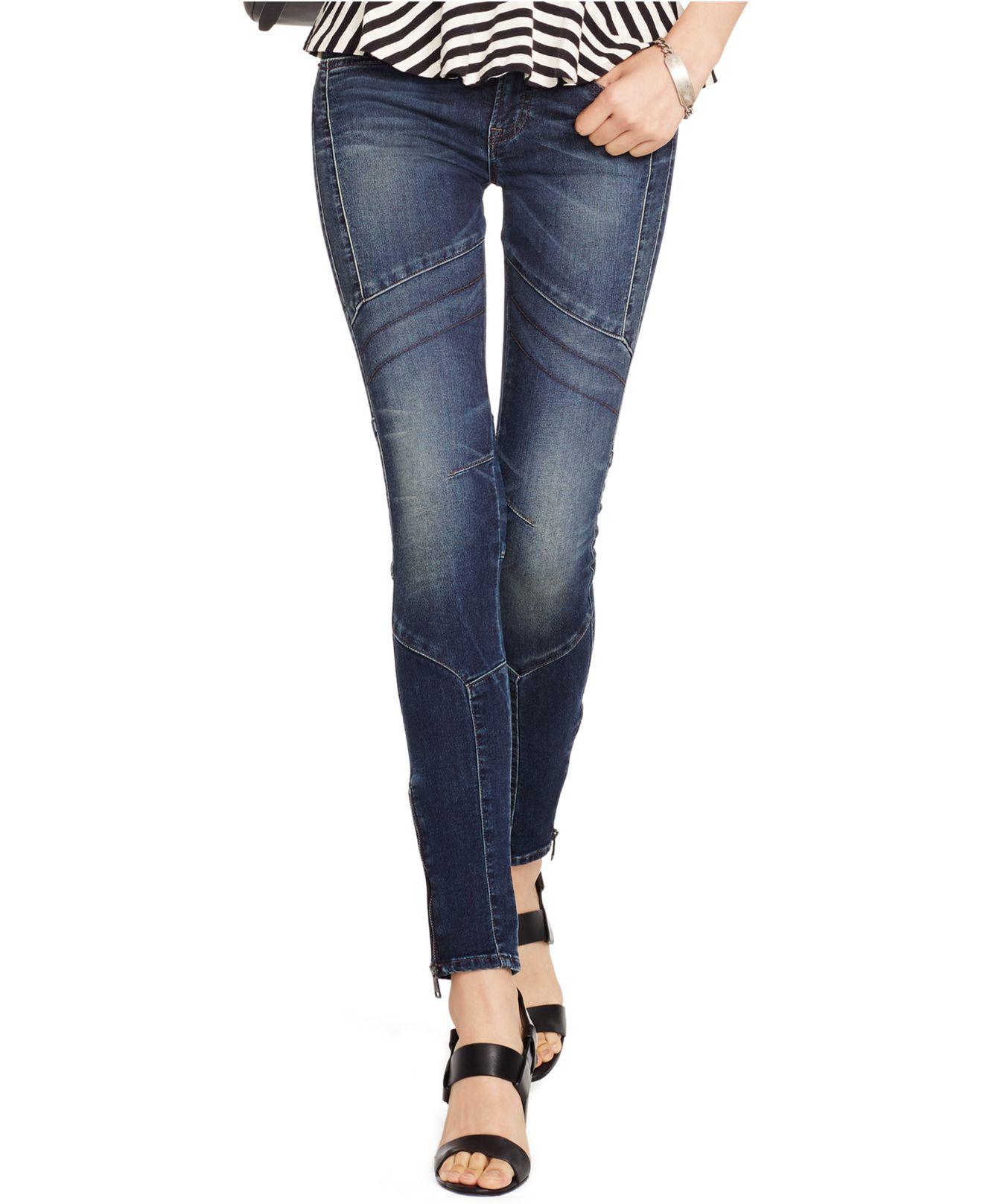 8702fbc24844 Lyst - Polo Ralph Lauren Stretch Skinny Moto Jeans in Blue