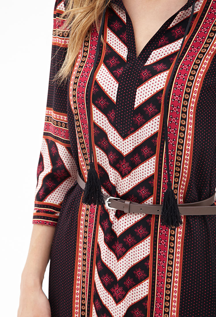Love 21 Tribal Print Shift Dress in Red (Magenta/beige) | Lyst