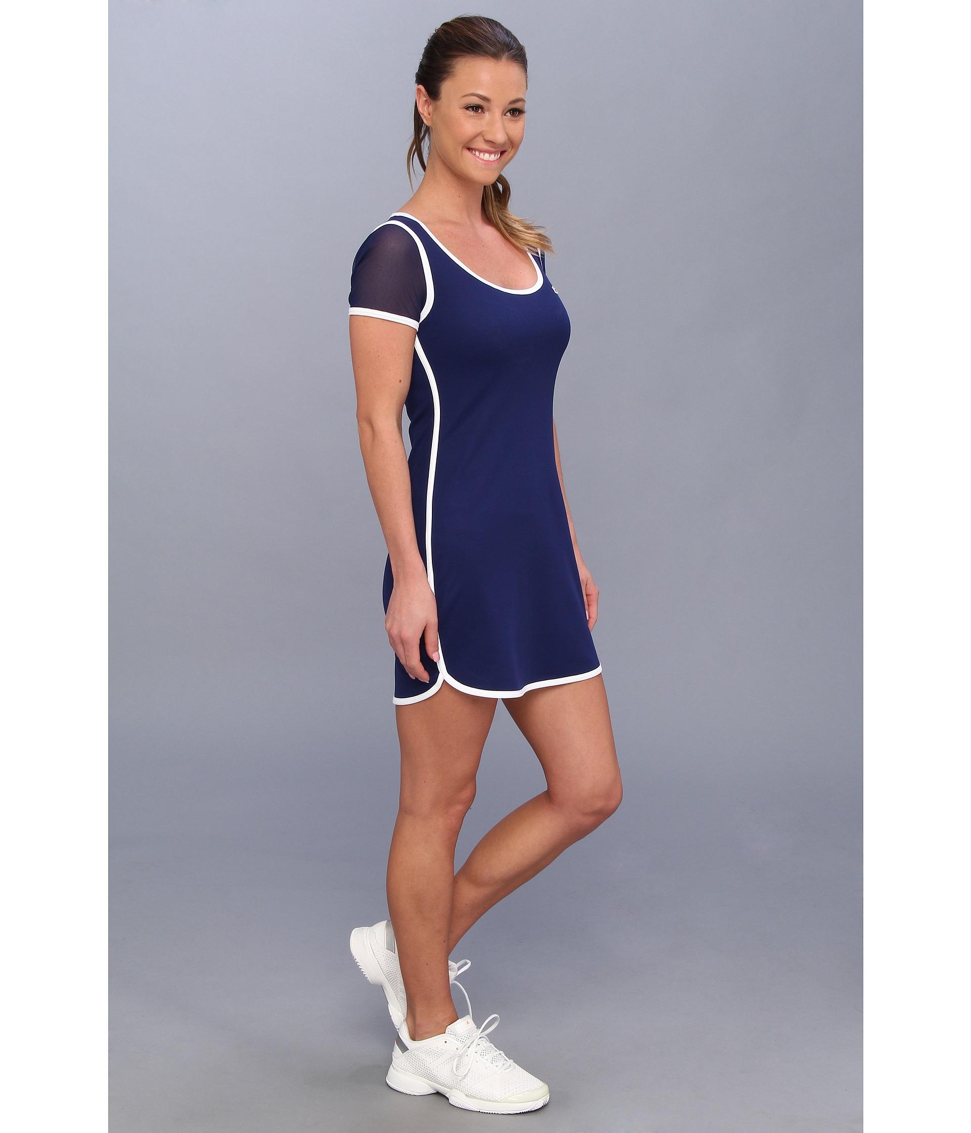 e50d6ec5bbdbd Lyst - Lacoste Mesh Short Sleeve Tennis Dress in Blue