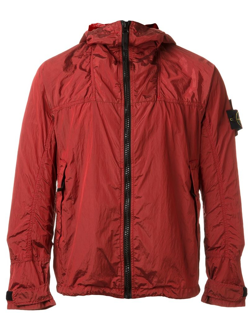 Stone island Hooded Anorak Jacket in Red for Men - Lyst