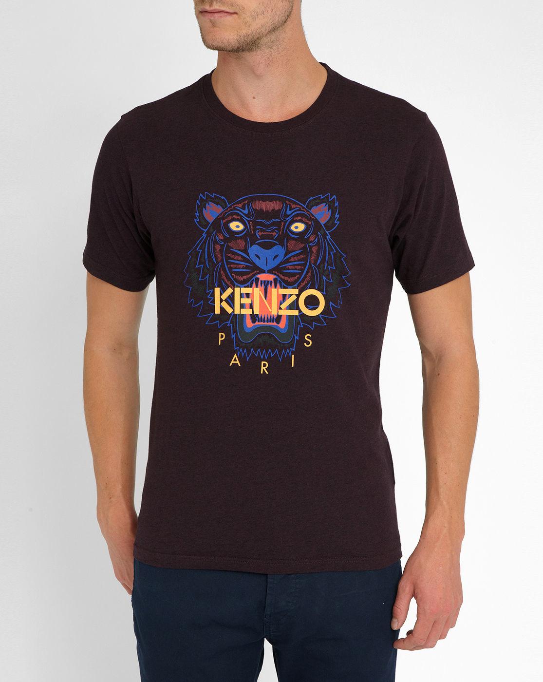 kenzo burgundy tiger logo round neck t shirt in purple for. Black Bedroom Furniture Sets. Home Design Ideas