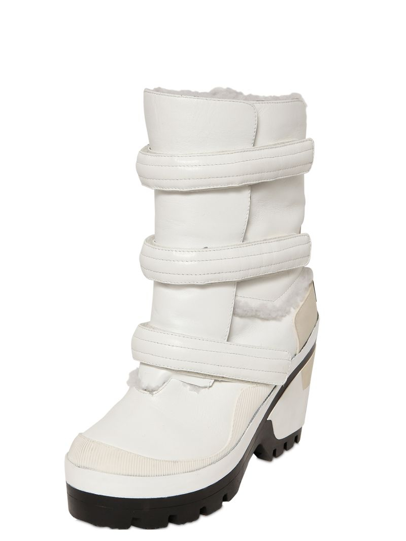 Hunter 90mm Outer Space Shearling Boots In White