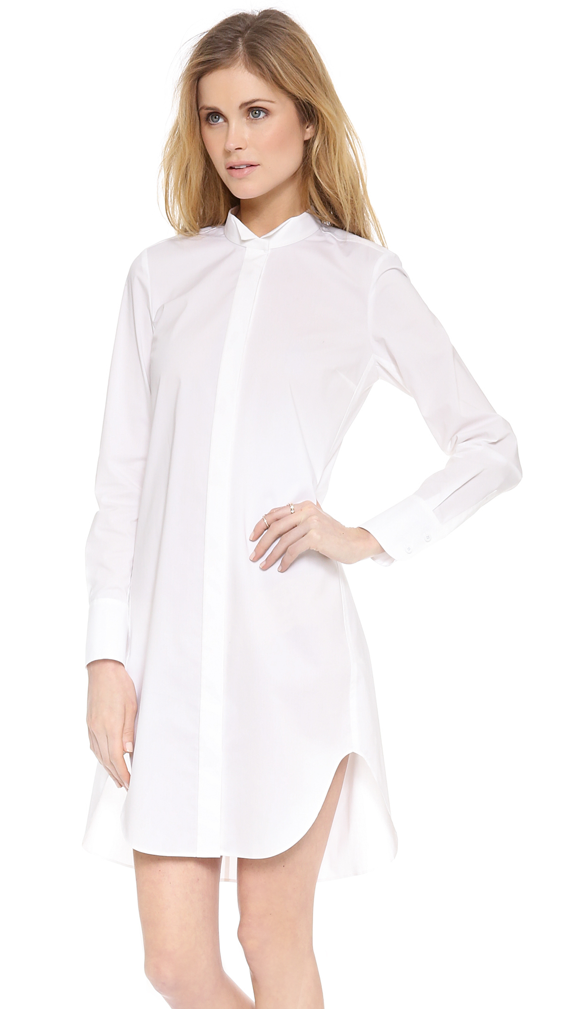 Lyst rebecca taylor long sleeve shirtdress in white Women s long sleeve shirt dress