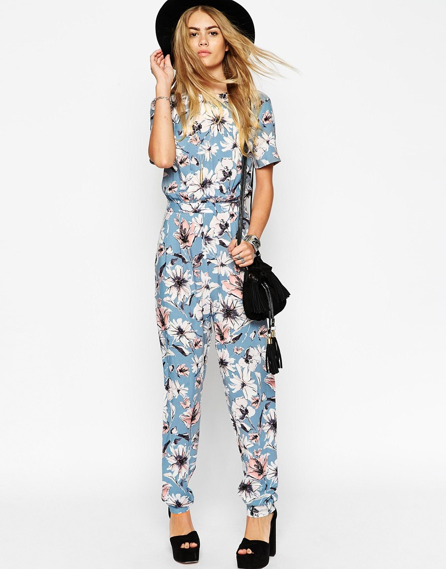 9740f6b1212b ASOS Floral Printed T-shirt Jumpsuit in Blue - Lyst
