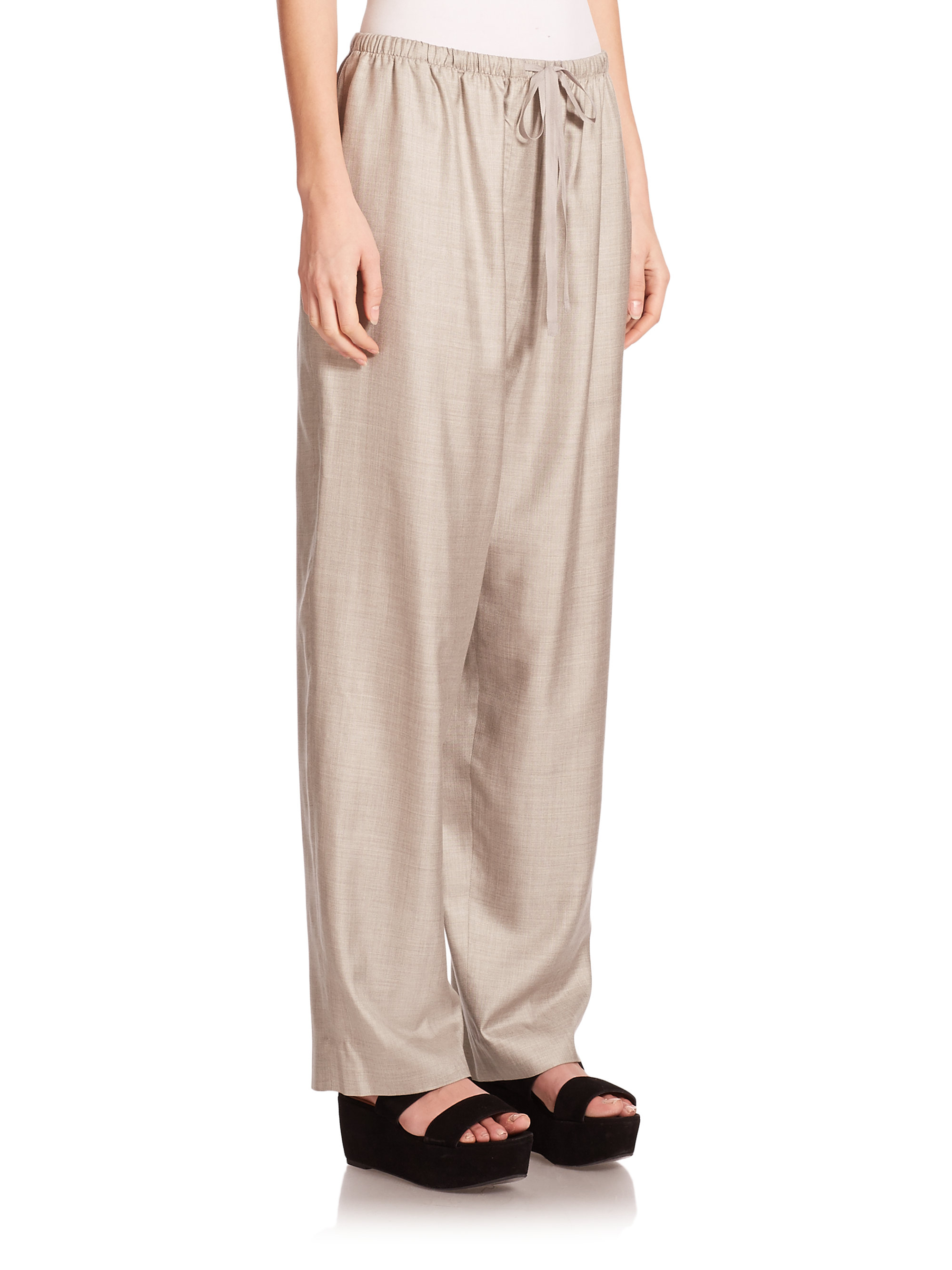 The row Evelyn Wide-leg Drawstring Pants in Gray | Lyst