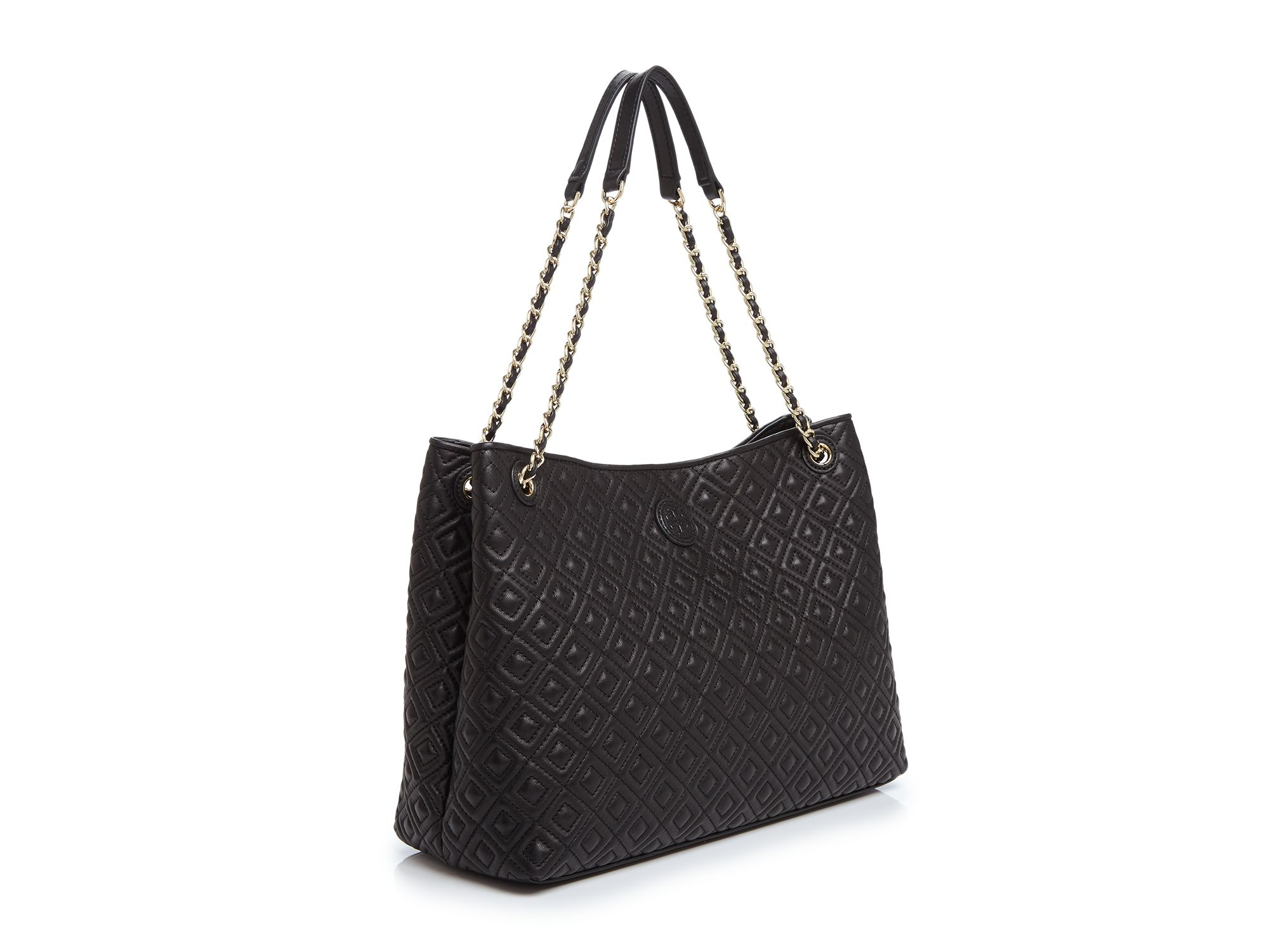 Lyst Tory Burch Marion Quilted Tote In Black
