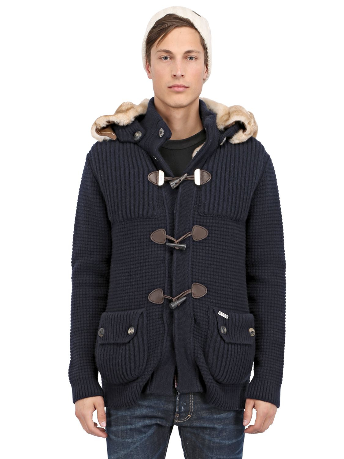 Bark Cashmere Duffle Coat With Fur Lining in Blue for Men | Lyst