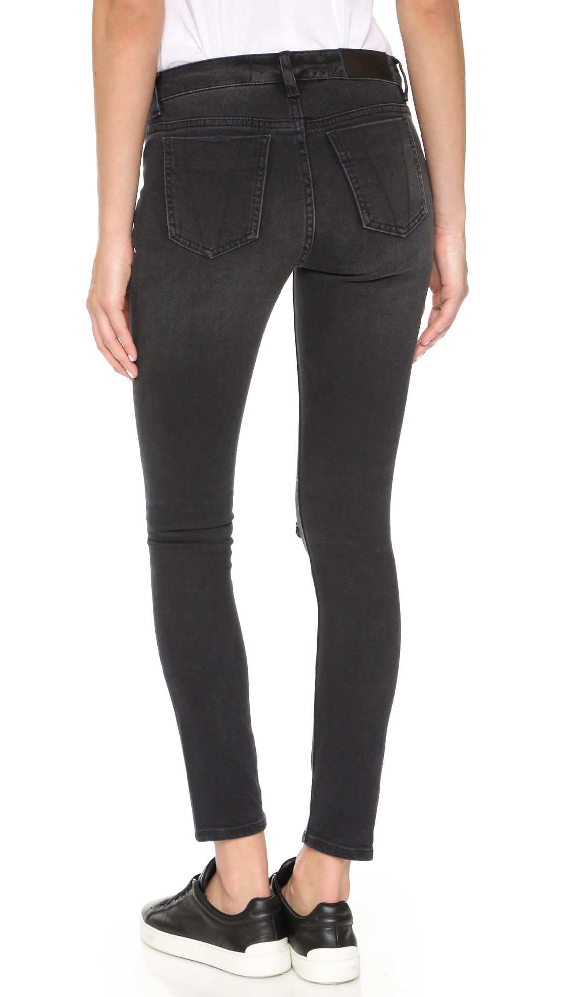 victoria victoria beckham ankle slim jeans in black lyst. Black Bedroom Furniture Sets. Home Design Ideas